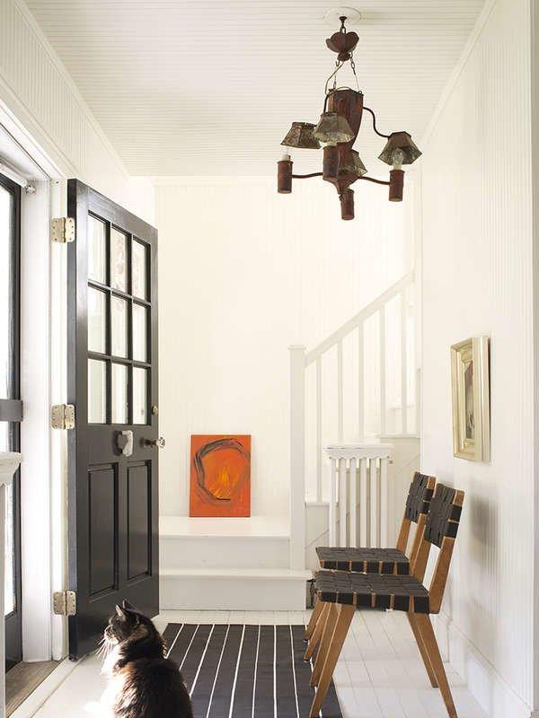 Black and White Interior, White Stairs