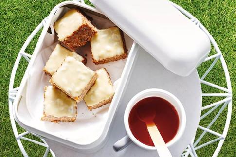 Healthy passionfruit tahini slice
