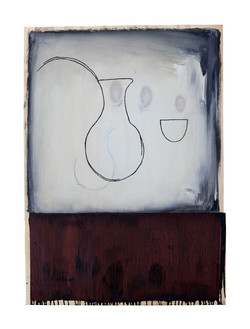 Jug with Bowl III, 98 x 70cm, Oil on woo