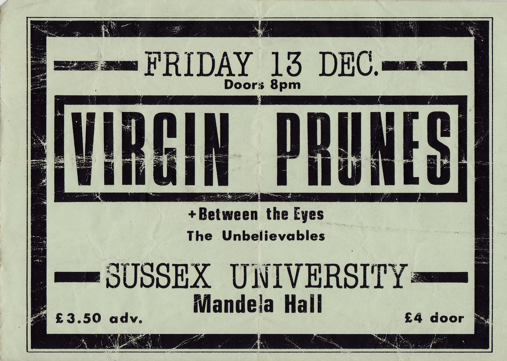 Virgin Prunes Concert Ticket