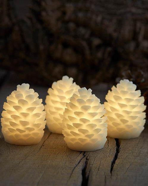 SIRIUS - CLARA Pomme de pin en cire lumineuse - H7, 5cm(lot de 4)