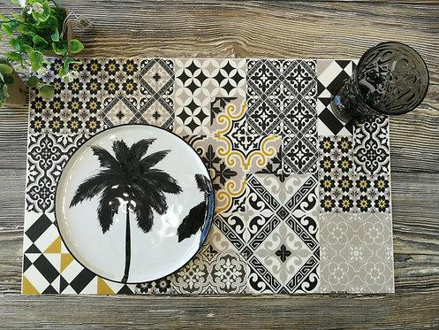 """BEIJA FLOR - Set de table - """"Carreaux de Ciment Gold"""""""