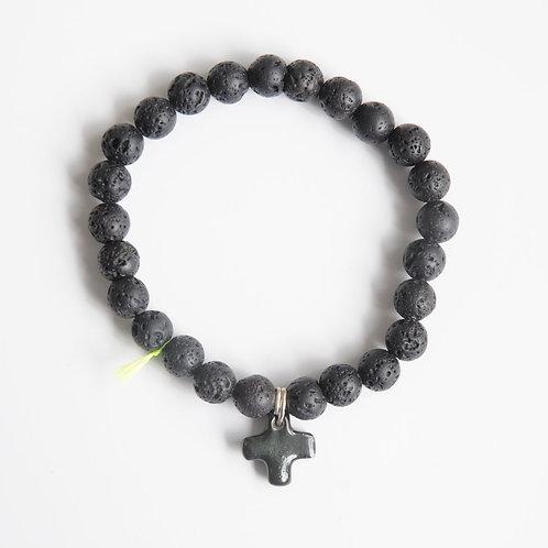 Bracelet Volcano Lave Croix Noire - Margote Ceramiste
