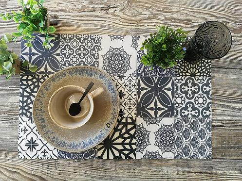"""BEIJA FLOR - Set de table - """"Carreaux de ciment noir"""""""