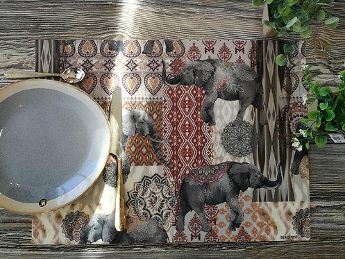 """BEAUMONT/PÔDEVACHE - Set de table - """"Eléphants"""""""