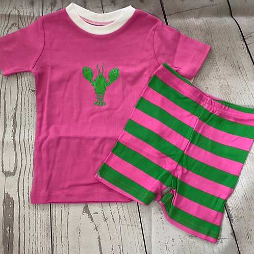 NWT PJ's 100 % Organic Pink Lobsters Cotton Short Set SALE