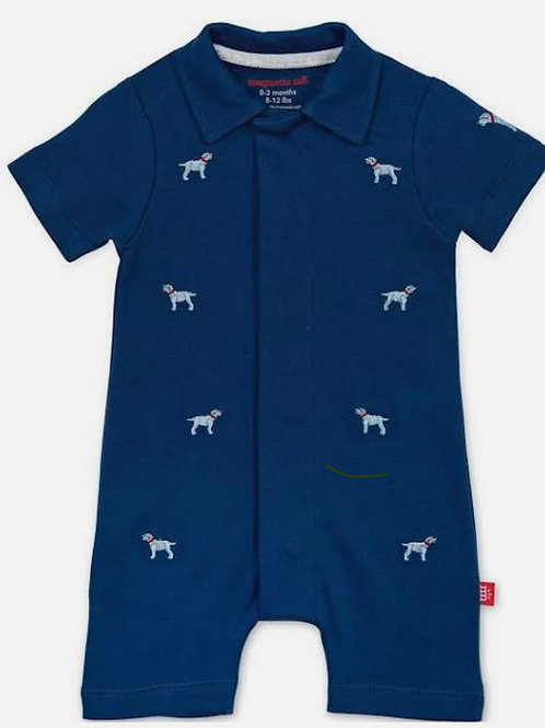"""NWT Magnetic Me """"Best in Show"""" Organic Cotton Magnetic Polo Romper"""