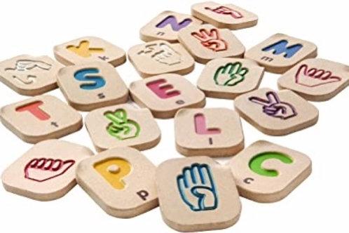 NIB Wooden Sign Language Blocks