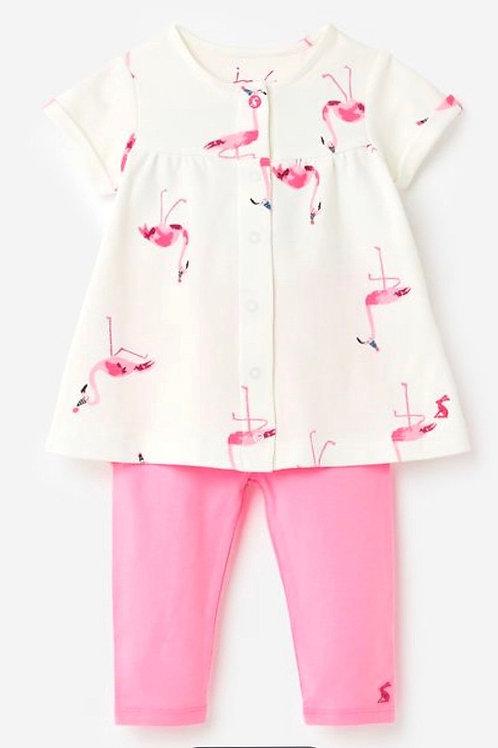 NWT Pink Flamingo Cotton 2 Piece Dress Tunic / Leggings - Infant