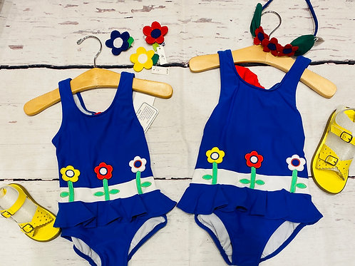 NWT Florence Eiseman Royal Blue Tank Swimsuit with Flowers