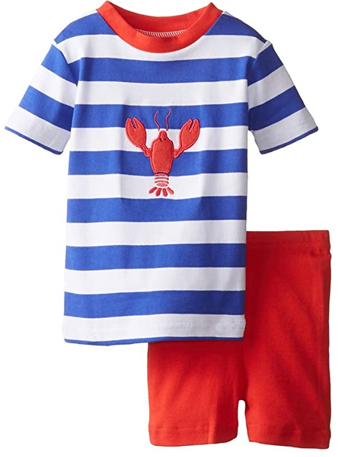 NWT PJ's 100 % Organic Cotton Lobster Striped Short Set SALE