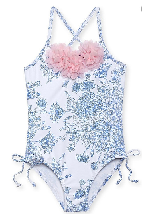 SALE NWT Stella Cove Blue Toile Pink Flowers Swimsuit