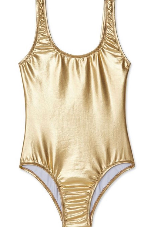 SALE NWT Boutique Shiny Gold One Piece Bathing Suit 12 Only