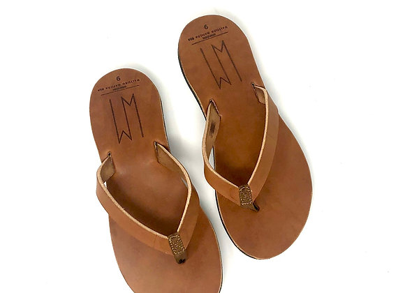 JORDANN - BUCK BROWN LEATHER SANDALS