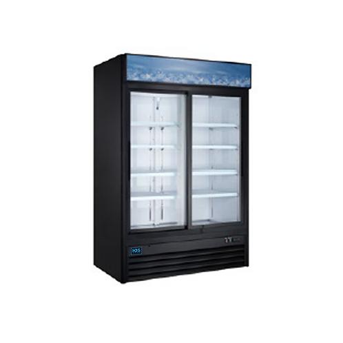 HDS | Merchandising Slide Glass Door Refrigerator - 2 Door, 45 Cu. Ft. BLACK