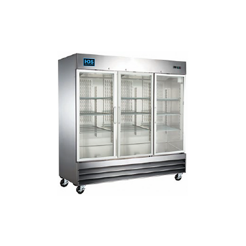 HDS | Reach-in Glass Door Refrigerator - 3 Door, 72 Cu. Ft.