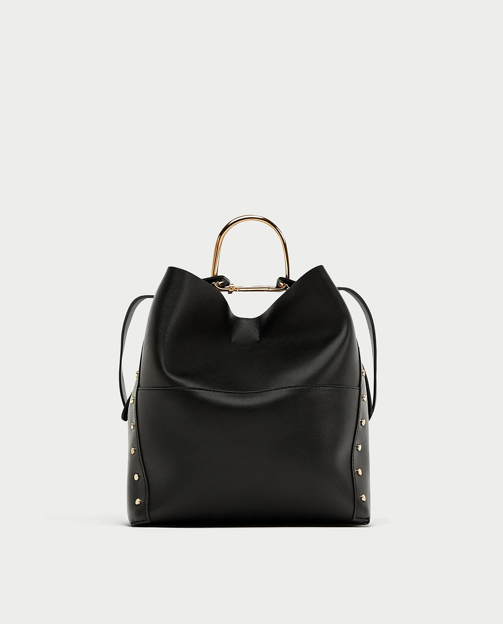 Zara Studded Bucket Bag in black