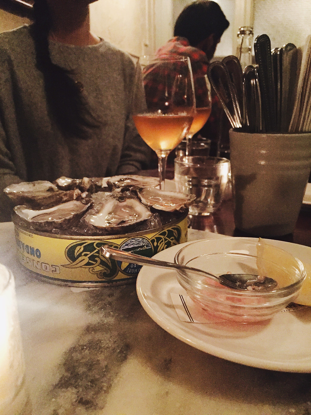 oysters and orange wine at Achille's Heel