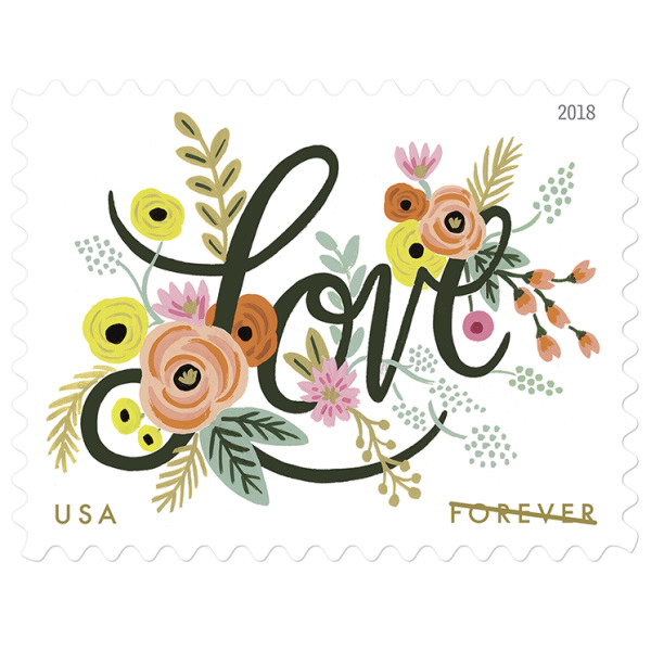 Love Flourishes stamp - photo from USPS
