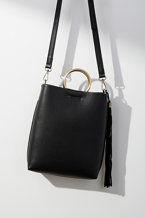 Anthropologie Ring Handle Tote Bag in black