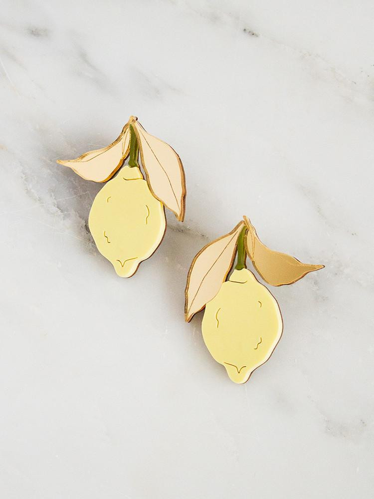 Wolf & Moon Lemon Earrings $50