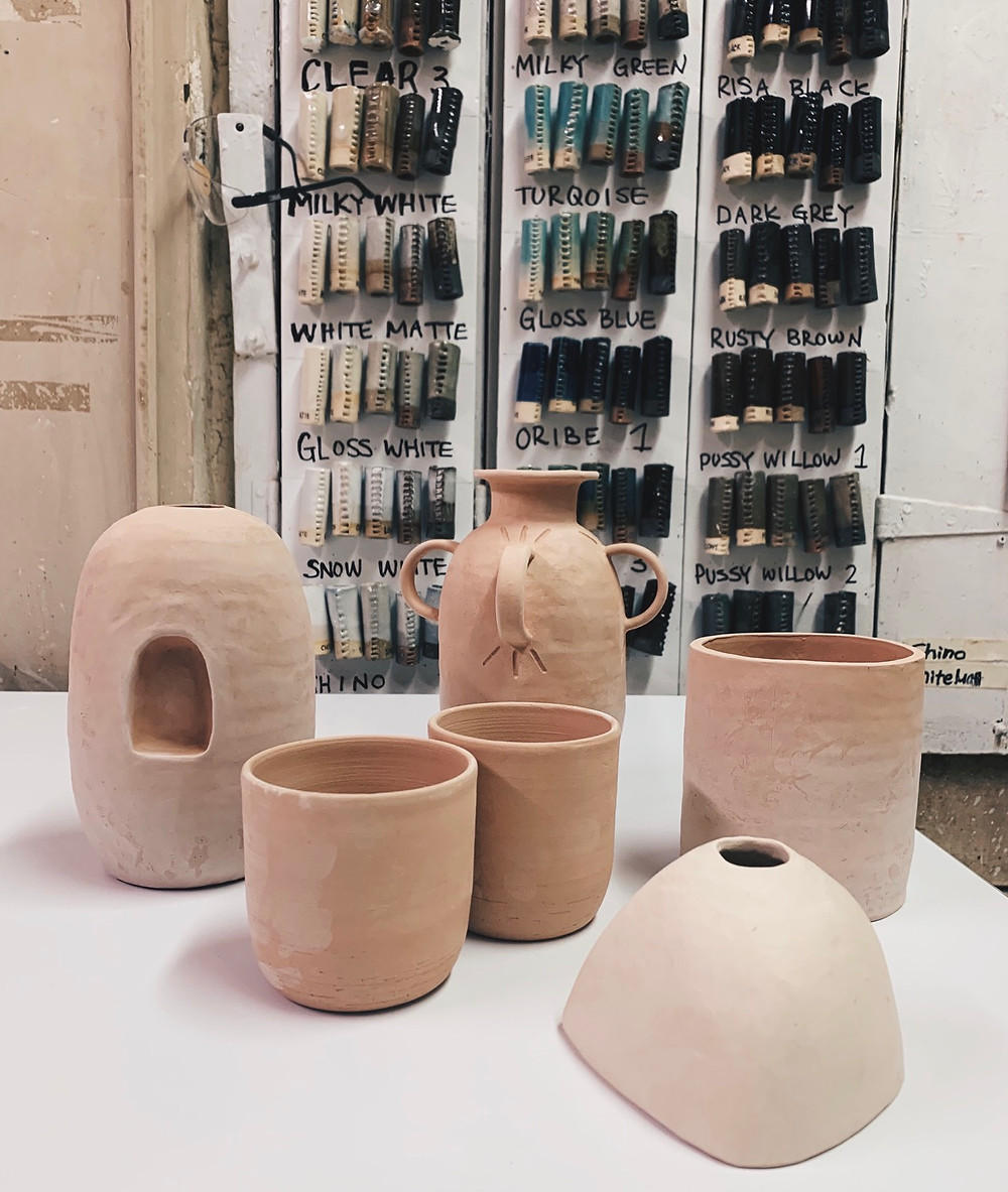 bisque pottery ready for glazing