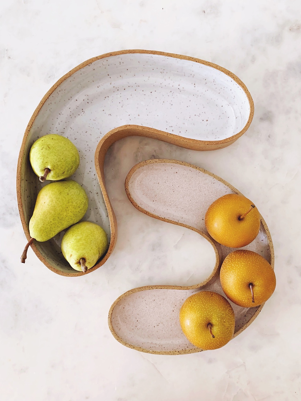 Bilbao serving bowl and dish with pears from the Peekskill Farmer's Market