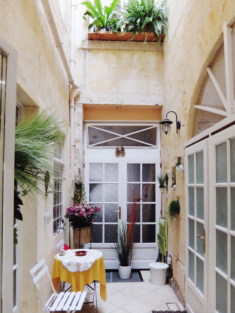 The tiny courtyard of our AirBnB