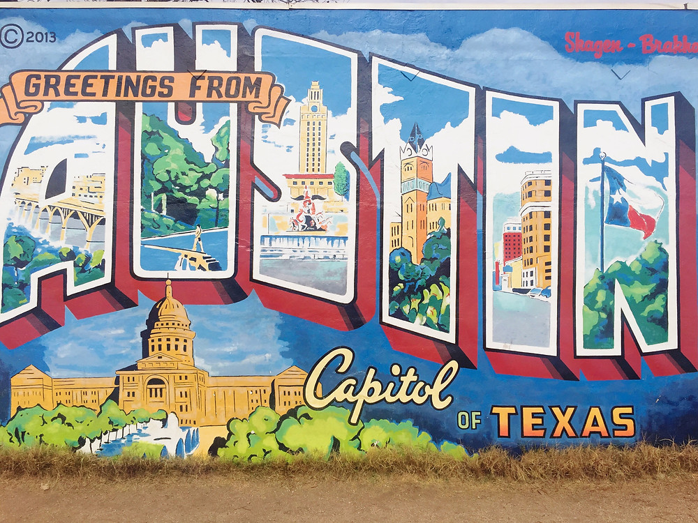 Postcard mural in Austin
