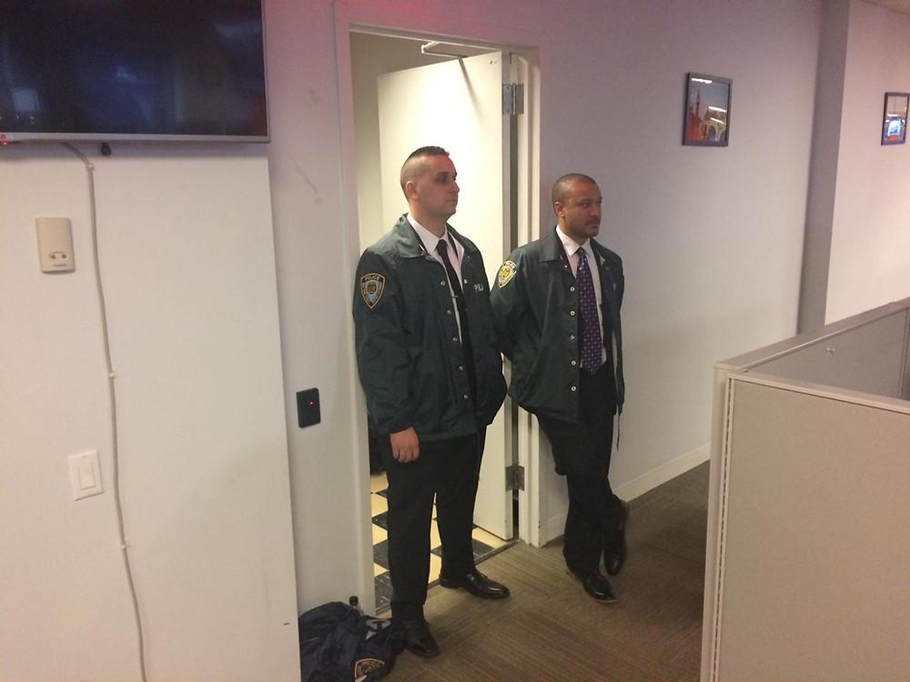 Investigators in Newsweek's Manhattan office