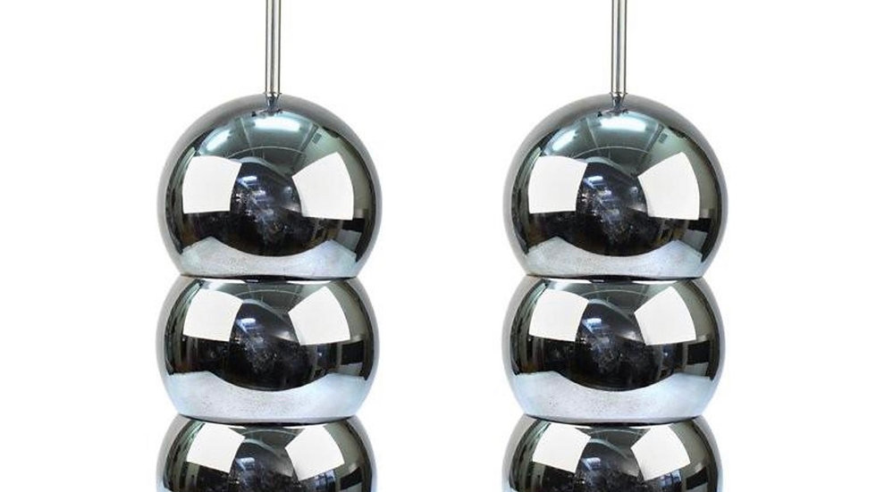 Pair - Vintage - Modern Chrome Stacked Ball Table Lamps