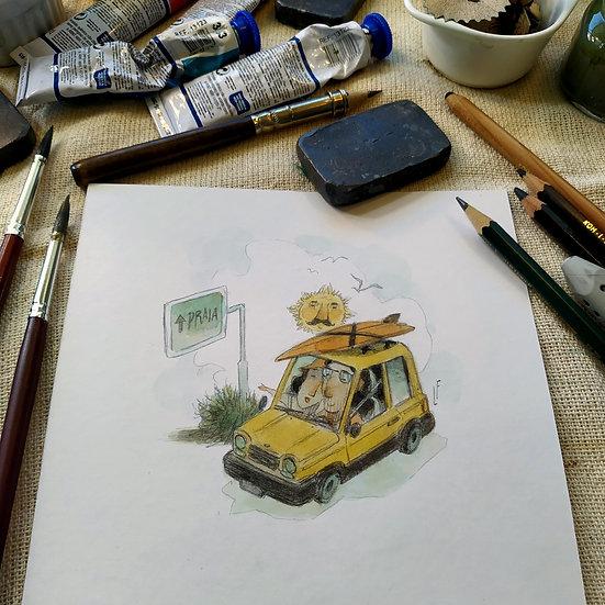 Vamos de passeio, num carro amarelo.