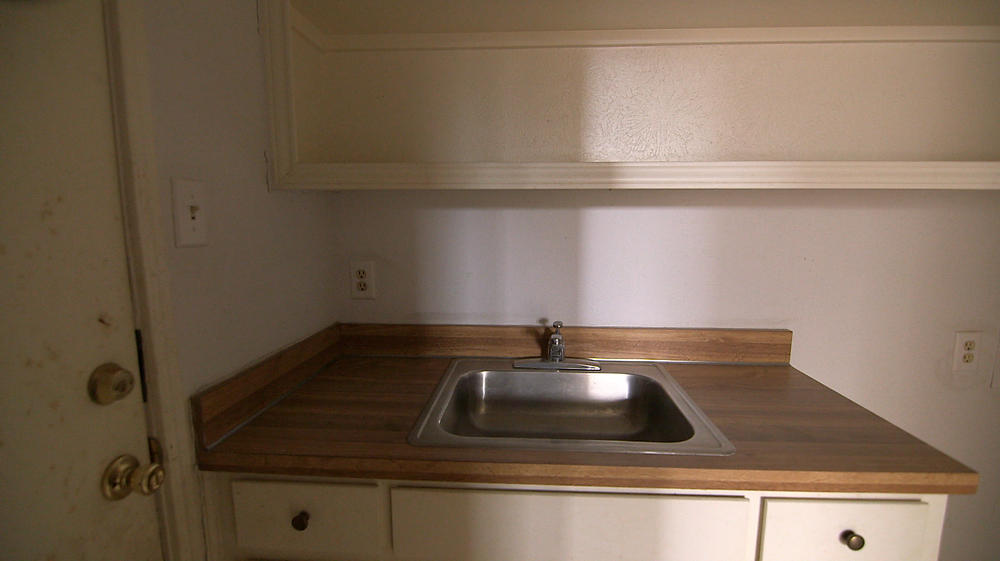 We blew out the wall behind this sink to add more space in the laundry.