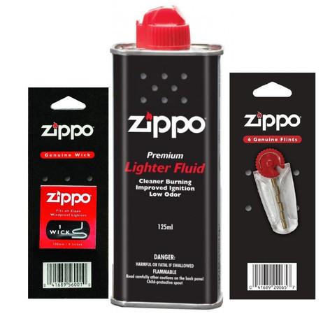 Kit para isqueiro fluído pedra e pavio original Zippo