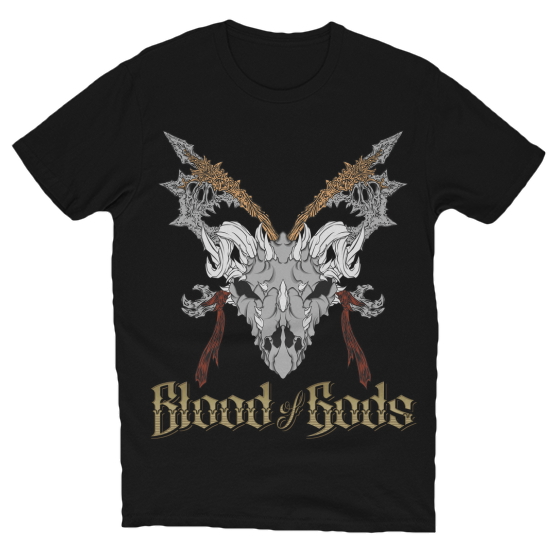 Skull, Axes, & Gold Title T-Shirt Black