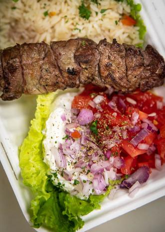 Beef Souvlaki on rice