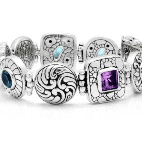 The Imperial - Handmade Sterling Silver Bracelet with Gemstones