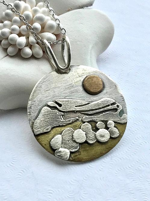 The Beach Pebble - Handmade Mixed Metal Pendant
