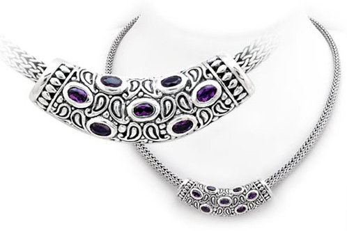 The Dramatic - Handmade Sterling Silver Necklace with Amethyst