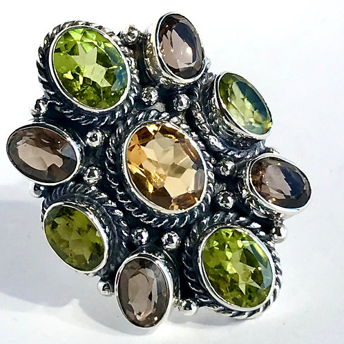 The Manifold in Green - Handmade Sterling Silver Ring with Gemstones