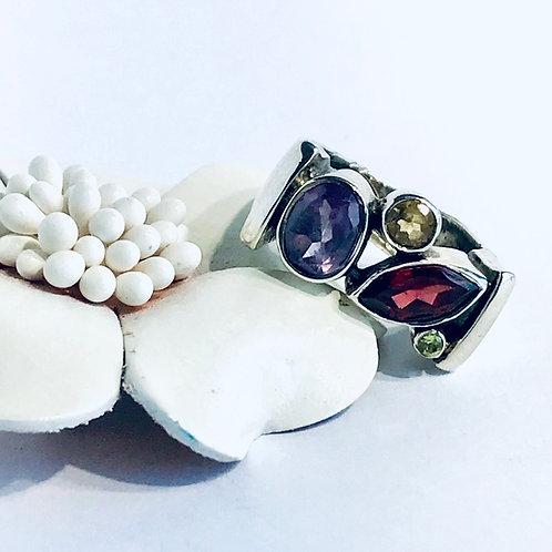 The Quartet - Handmade Sterling Silver Ring with Gemstones