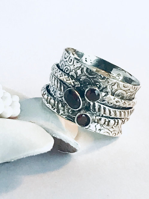 The Meditation Ring in Red - Handmade Sterling Silver Meditation Ring with Garne