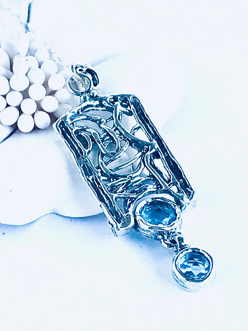 The Intertwined - Handmade Sterling Silver Pendant with Dangling Blue Topaz