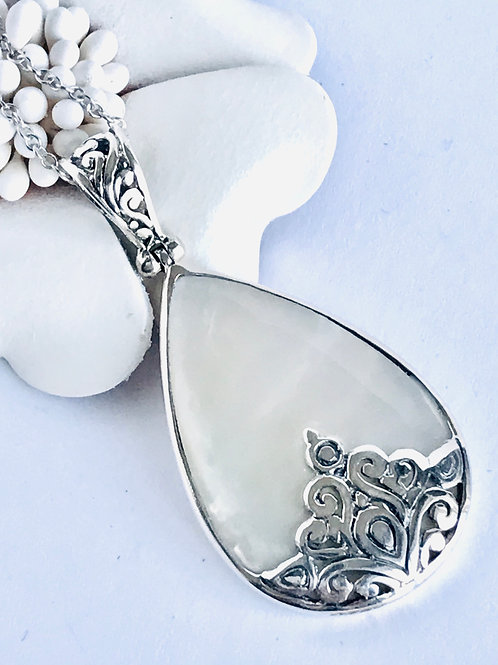 The Calming - Handmade Sterling Pendant with Mother of Pearl or Black Onyx