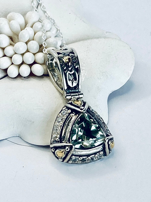 The Precious - Handmade Sterling Silver Pendant with Green Amethyst  or Natural