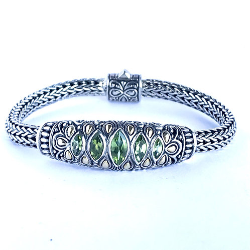 The Charismatic - Handmade Sterling Silver Bracelet with Peridot and Yellow Gold