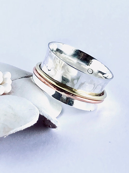 The Hammered in Mix Colors - Handmade Sterling Silver Meditation Ring