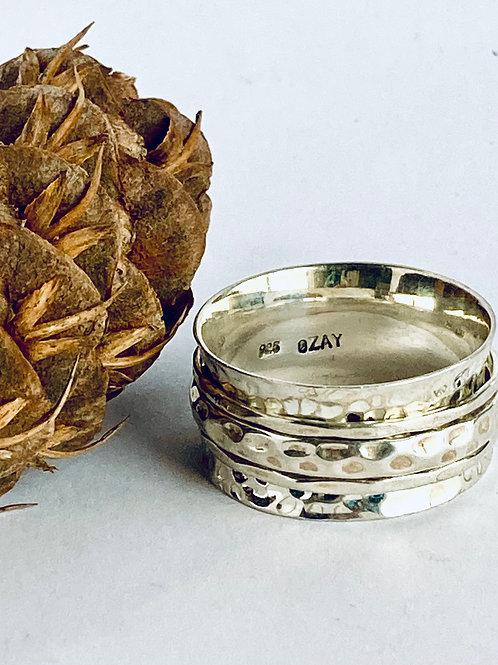 The Men All Silver - Handmade Sterling Silver Hammered Meditation Ring