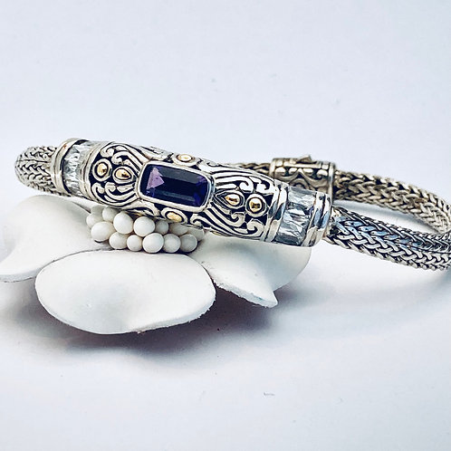 The Sparkled - Handmade Sterling Silver Bracelet with Natural Amethyst and Yello