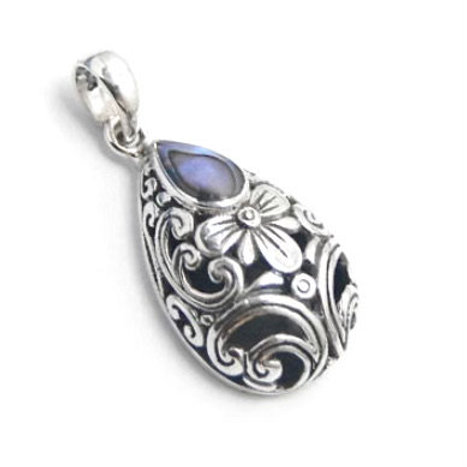 The Enticing - Handmade Sterling Silver Pendant with Amethyst or Abalone
